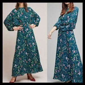 Anthropologie Rdalamal The Austin Green Maxi dress